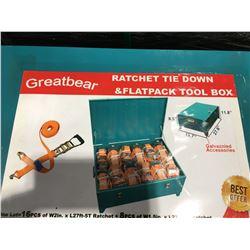 "GREATBEAR RATCHET TIE DOWN FLATPACK TOOL BOX 16PCS X 2"" X 27' RATCHET WITH MIN BREAKING STRENGTH"