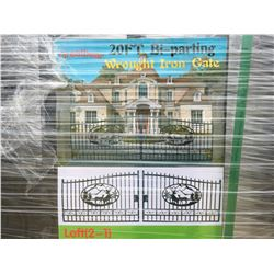 """GREATBEAR 20' BI-PARTING WROUGHT IRON GATE """"DEER"""" IN MIDDLE OF GATE FRAME - A"""