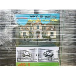 """GREATBEAR 20' BI-PARTING WROUGHT IRON GATE """"DEER"""" IN MIDDLE OF GATE FRAME - C"""