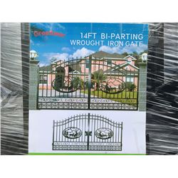 """GREATBEAR 14' BI-PARTING WROUGHT IRON GATE """"DEER"""" IN MIDDLE OF GATE FRAME - B"""