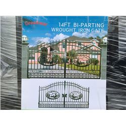 """GREATBEAR 14' BI-PARTING WROUGHT IRON GATE """"DEER"""" IN MIDDLE OF GATE FRAME - C"""