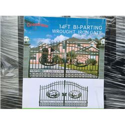 """GREATBEAR 14' BI-PARTING WROUGHT IRON GATE """"DEER"""" IN MIDDLE OF GATE FRAME - D"""