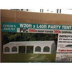 GOLDEN MOUNT 20' X 40' COMMERCIAL PARTY TENT/MISC SHOP/WAREHOUSE - 18 REMOVABLE SIDE WALLS/PVC
