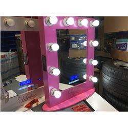 "FONTAINEBLEAU 10 LED LIGHT VANITY MAKEUP MIRROR WITH BLUETOOTH SPEAKERS & USB PLUG (PINK)  19.75"""