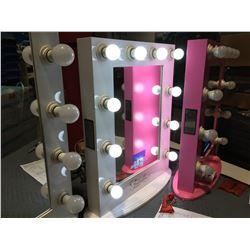 "FONTAINEBLEAU 10 LED LIGHT VANITY MAKEUP MIRROR WITH BLUETOOTH SPEAKERS & USB PLUG (WHITE)  19.75"""