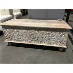 "SOLID HAND CARVED TEAK BLANKET TRUNK (43"" X 17"" X 18"")"