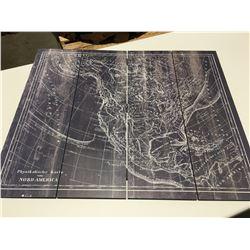 "WOODEN FOLDING WORLD MAP 24""x29"""