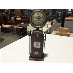 "OLD FASHIONED GASPUMP CLOCK 14"" HIGH"