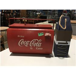 "ANTIQUED COCA-COLA ICEBOX 17""W X 15""H & NAUTICAL STYLE MARKER"