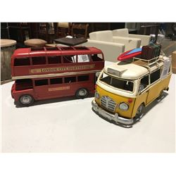 METAL ORNAMENTAL LONDON SIGHTSEEING DOUBLE DECKER BUS & VW REPLICA COMPLETE WITH SURFBOARD & LUGGAGE