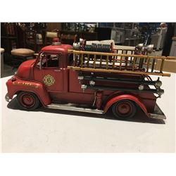 "METAL ORNAMENTAL EARLY FIRETRUCK 14.5"" X 6"""