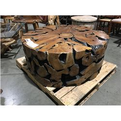 "SOLID TEAK ROOT ROUND COFFEE TABLE (43"" DIAMETER X 17.5"" H) MSRP $2666"