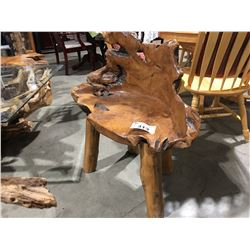 "TEAK BURL 1-PERSON BENCH 32"" W X 18"" H"