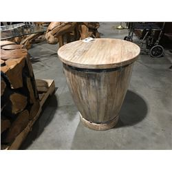 "TEAK BONGO DRUM REPLICA TABLE (21.25"" X 24.25"")"