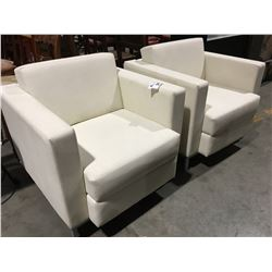 SET OF 2 LEATHER-LIKE UPHOLSTERED CONVERSATION CHAIRS - CREAM