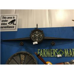 "WALL ART PLANE WING WITH CLOCK (APROX 75"" X 27"")"