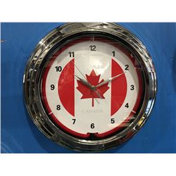"CANADA ILLUMINATED CLOCK - APPROX 14"" DIAMETER"