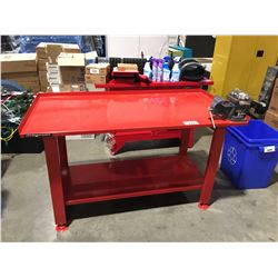 """MAGNUM HEAVY DUTY STEEL WORK BENCH 5' X 32"""" WITH ATTACHED VISE"""