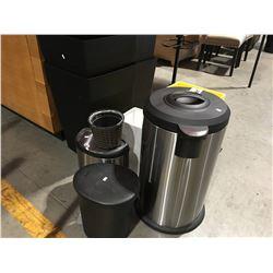 SHELF LOT OF ASSTD GARBAGE CANS & BASKETS