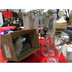 BEVERAGE DISPENSER X 2 WITH 2 GLASS PITCHERS & ASSTD MINI SALT & PEPPER SHAKERS
