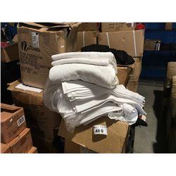 PALLET LOT OF ASSTD LINEN - BAR TOWELS, TABLE RUNNERS, REUSABLE BAGS,  100 + NEW BLACK SLACKS