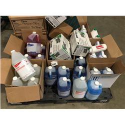 PALLET LOT OF GLASS CLEANER, SANITIZER, RINSE AID, MACHINE DISH DETERGENT, EMESIS BAGS, SCOTCH