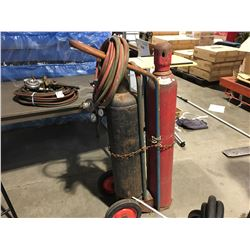 OXYGEN & ACETYLENE TANKS WITH CUTTING TORCH