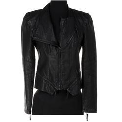 Jade Eshete 'Farah Black' black biker-style jacket from Dirk Gently's Holistic Detective Agency.