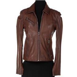 Jade Eshete 'Farah Black' brown biker jacket from Dirk Gently's Holistic Detective Agency.