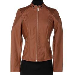 Jade Eshete 'Farah Black' brown leather jacket from Dirk Gently's Holistic Detective Agency.