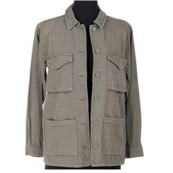 Hannah Marks 'Amanda Brotzman' olive drab military jacket and deep-V t-shirts from Dirk Gently's...