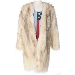Elijah Wood 'Todd Brotzman' Lux Dujour rock star coat, American flag tank top from Dirk Gently's.