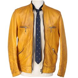 Samuel Barnett 'Dirk Gently' signature yellow leather jacket and patterned tie from Dirk Gently's...