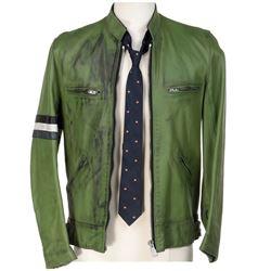 Samuel Barnett 'Dirk Gently' signature green leather jacket & peach patterned tie from Dirk Gently's
