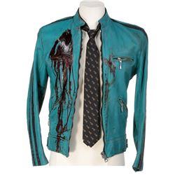 Samuel Barnett 'Dirk Gently' signature distressed blue leather jacket & pineapple tie - Dirk Gently'