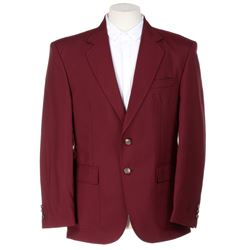 Mpho Koaho 'Ken' burgundy jacket and button-down shirt from Dirk Gently's Holistic Detective Agency.