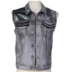 Michael Eklund 'Martin' finale sleeveless denim jacket from Dirk Gently's Holistic Detective Agency.