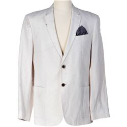 John Hannah 'The Mage' signature white linen blazer with pocket square from Dirk Gently's...