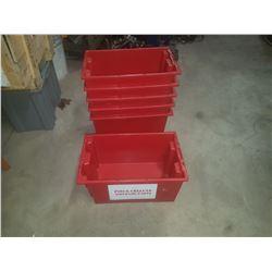 "Red Plastic Bin 10"" x 16"" x 9"" inside"