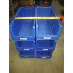"Blue Plastic Bin 9""1/2 x 20""1/2 x 9"" inside"