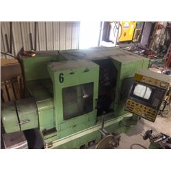 """Victor TNS-3 Lathe with Fanuc 10-FAPT. 10 tools ATC, hydraulic 10"""" chuck. Just under 3"""" bore. Was in"""
