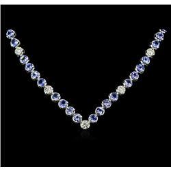 14KT White Gold 11.52 ctw Tanzanite and Diamond Necklace