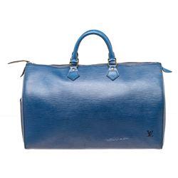 Louis Vuitton Blue Epi Leather Speedy 40 cm Bag