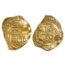 """Mexico City, Mexico, cob 2 escudos, 1698L, """"jeweled cross"""" variety, very rare, NGC AU details / coun"""