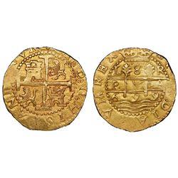 Lima, Peru, cob 8 escudos, 1699R, P.V.A. variety, NGC MS 62, ex-1715 Fleet (designated on special la