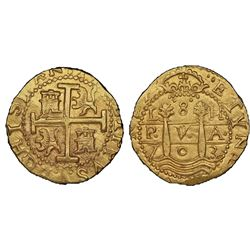 Lima, Peru, cob 8 escudos, 1703H, HISPAN variety, rare, NGC MS 62, ex-1715 Fleet (designated on spec