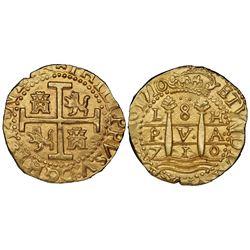 Lima, Peru, cob 8 escudos, 1710H, HISPANIAR variety, NGC MS 63, ex-1715 Fleet (designated on special