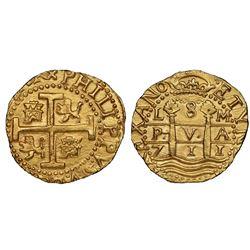 Lima, Peru, cob 8 escudos, 1711M, NGC MS 64, ex-1715 Fleet (designated on special label), finest kno