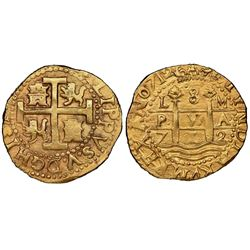 Lima, Peru, cob 8 escudos, 1712M, NGC AU 58, ex-1715 Fleet (designated on special label).