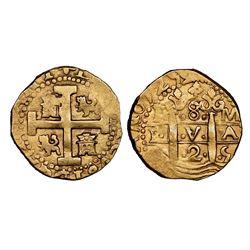 Lima, Peru, cob 8 escudos, 1725M, Louis I, rare, NGC AU details / edge filing.